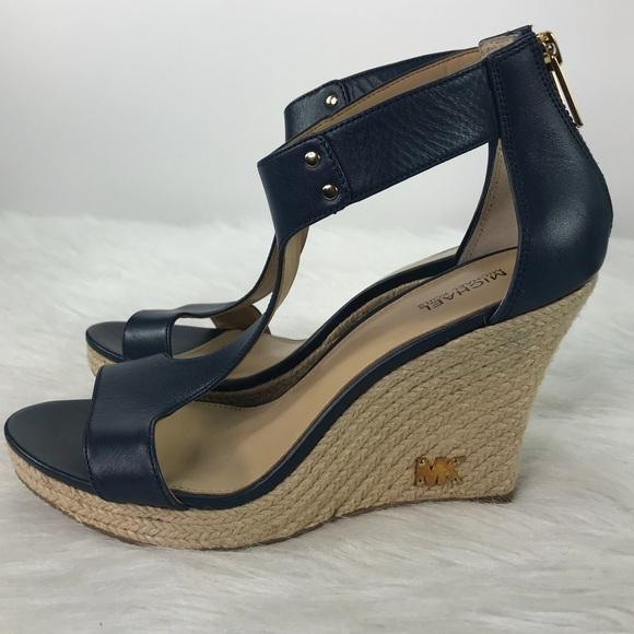 64fb7c185c4 Michael Kors Blue Leather Wedge Women Shoes 7.5. M 5b7efddb81bbc80a767c049a
